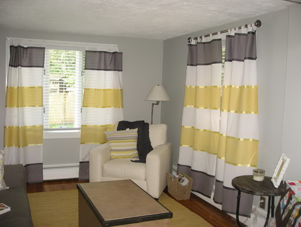 Gray And Yellow Striped Curtains