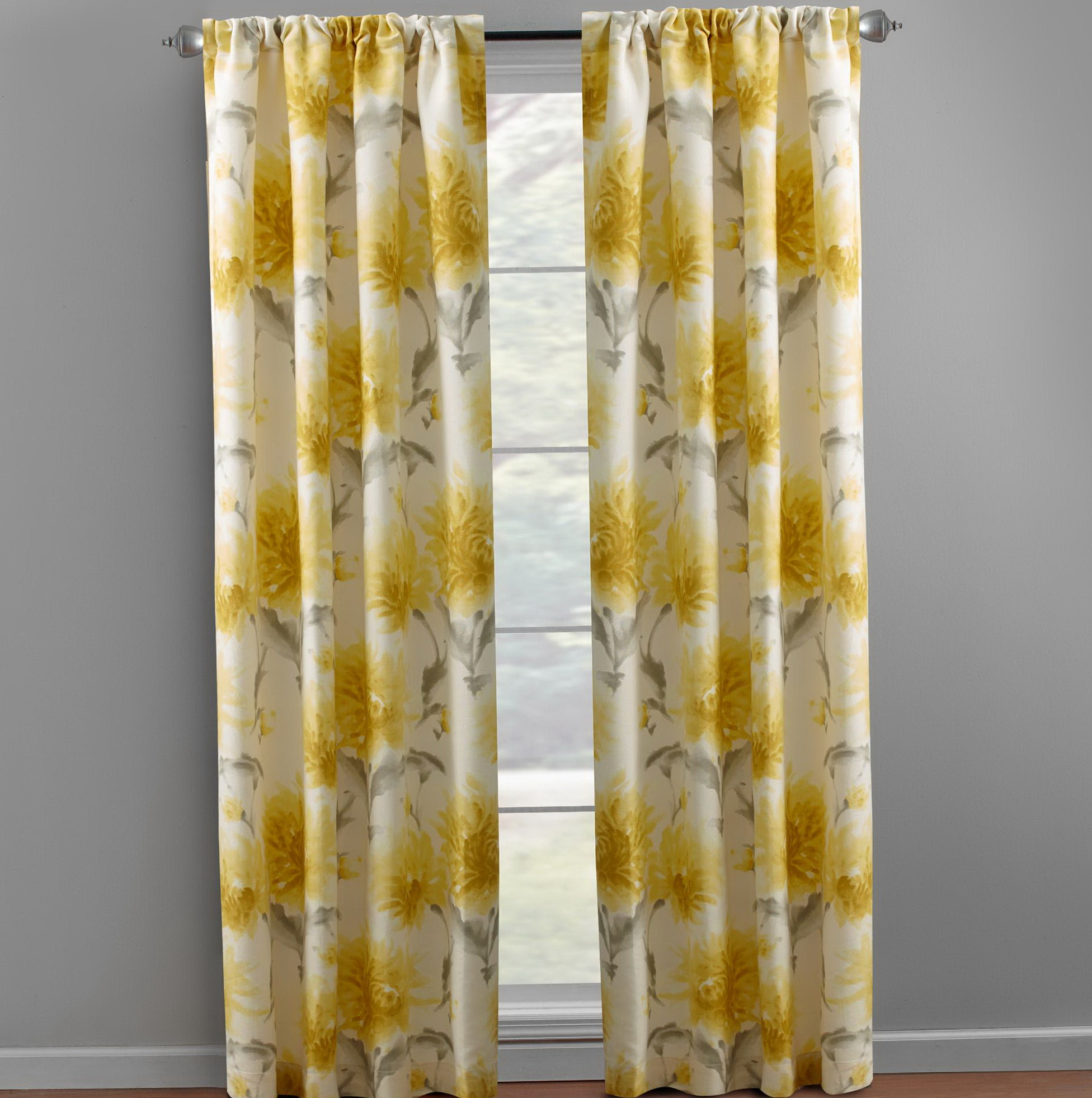 Gray And Yellow Window Curtains
