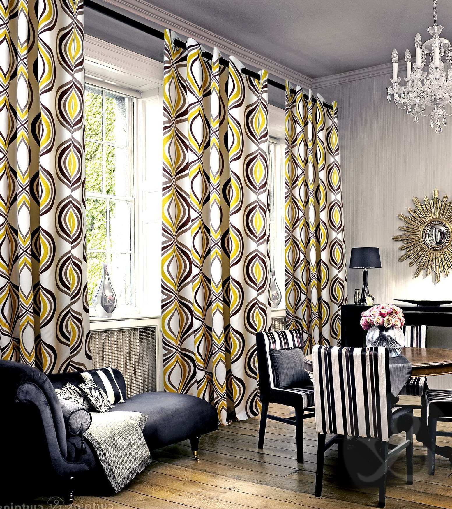 gray black and yellow curtains home design ideas. Black Bedroom Furniture Sets. Home Design Ideas