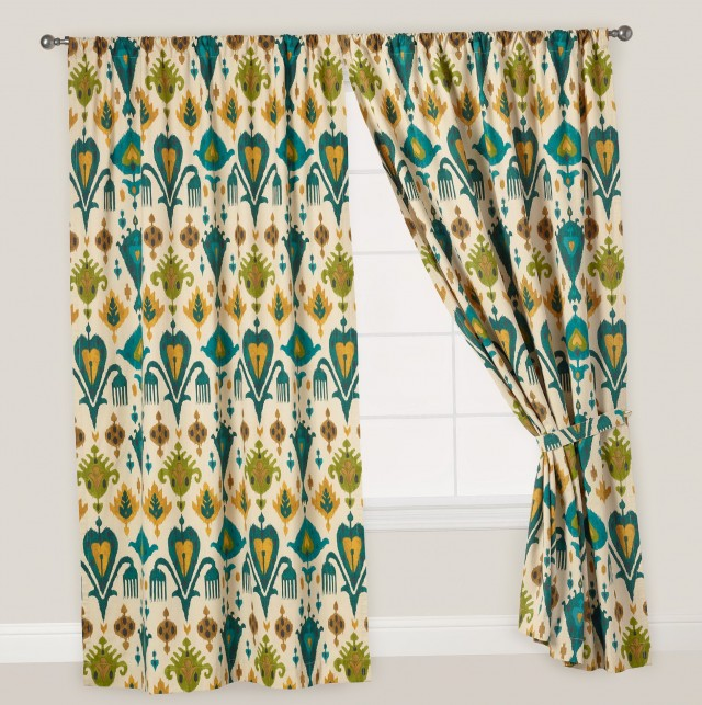 Gray Teal And Yellow Curtains