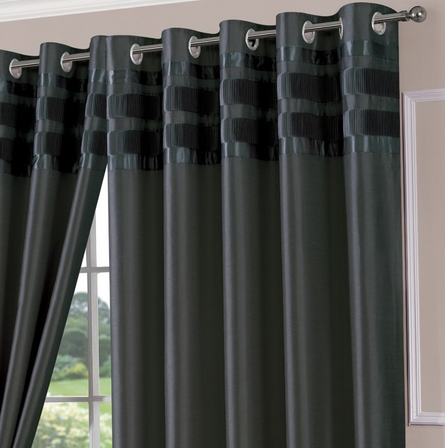Grey Faux Silk Curtains