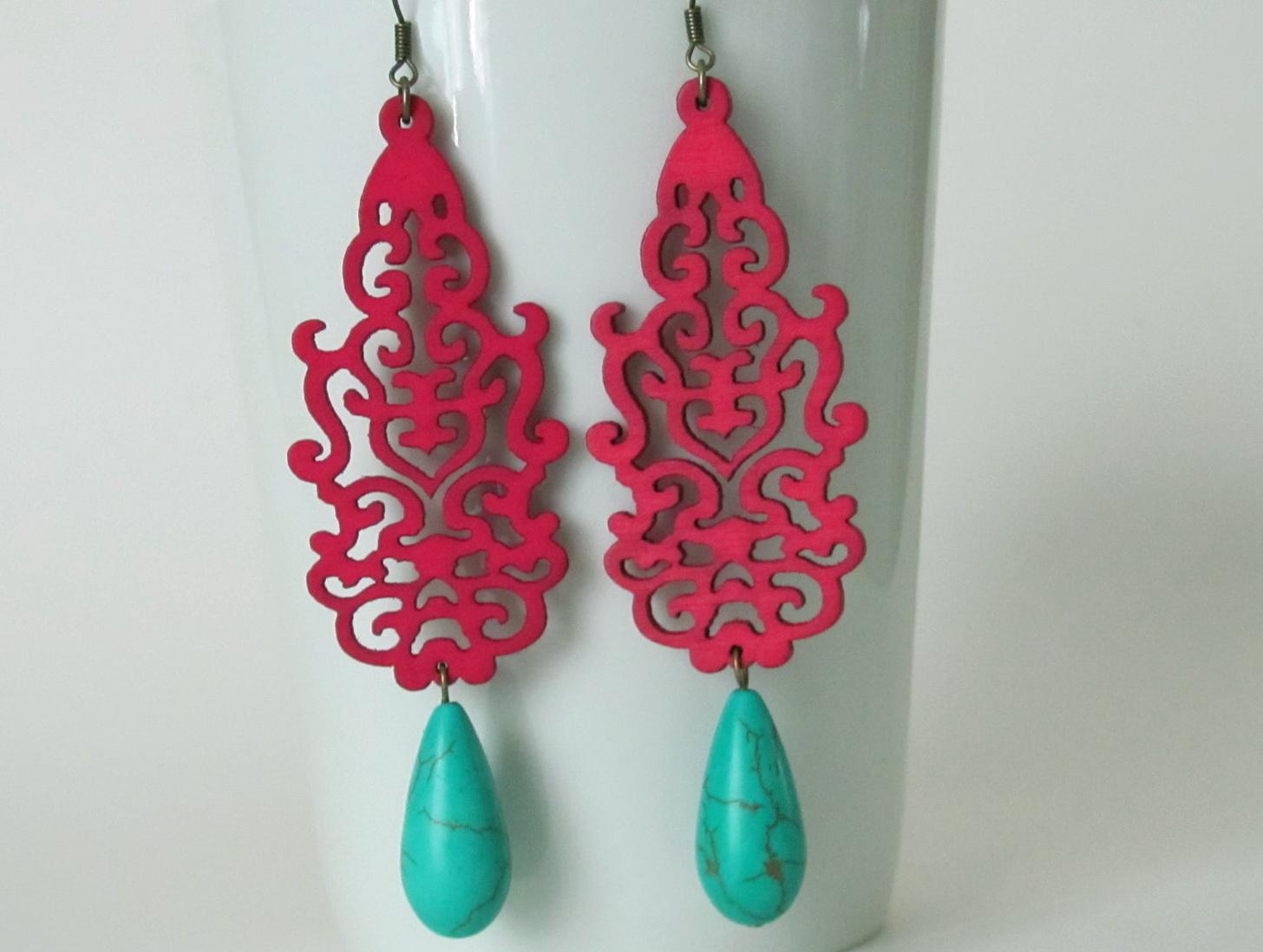 Hot Pink Chandelier Earrings