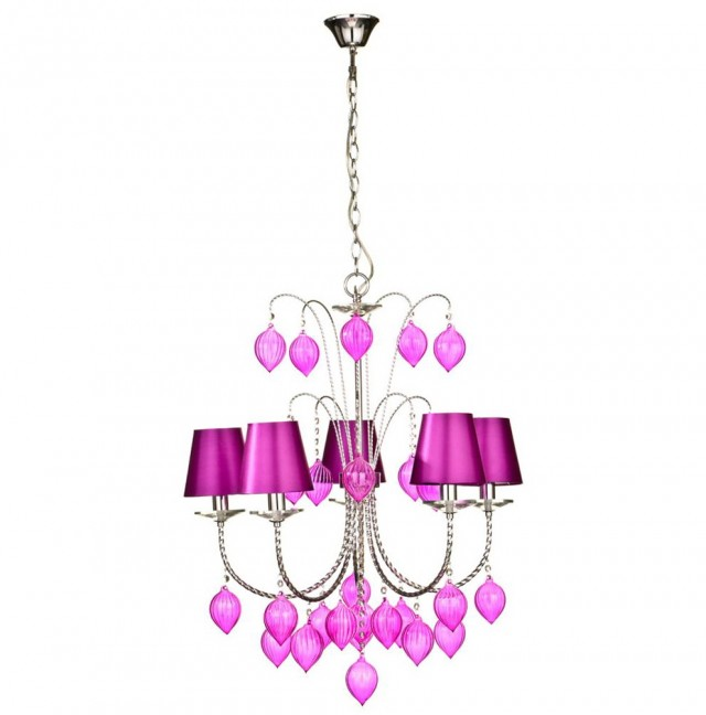 Hot Pink Crystal Chandelier