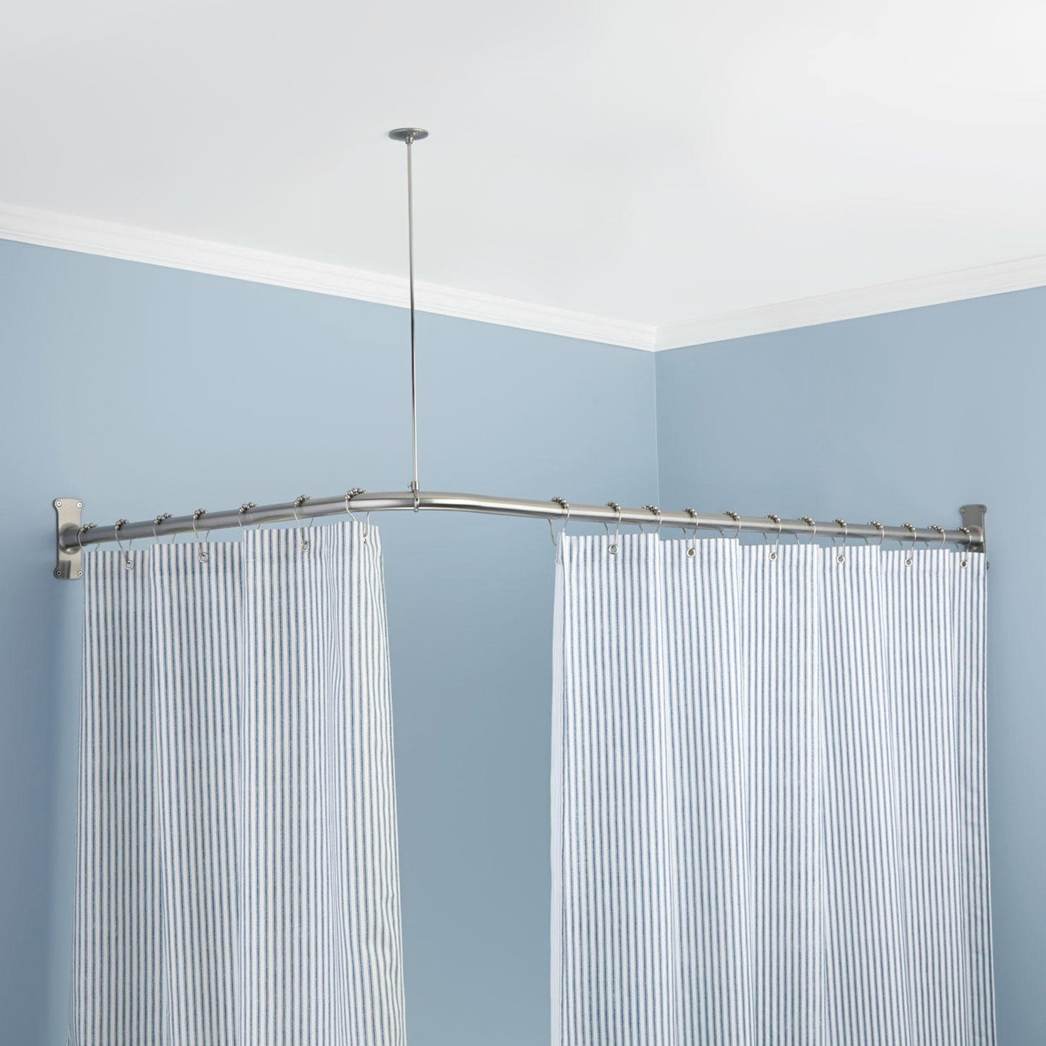 Ceiling suspended shower curtain rod
