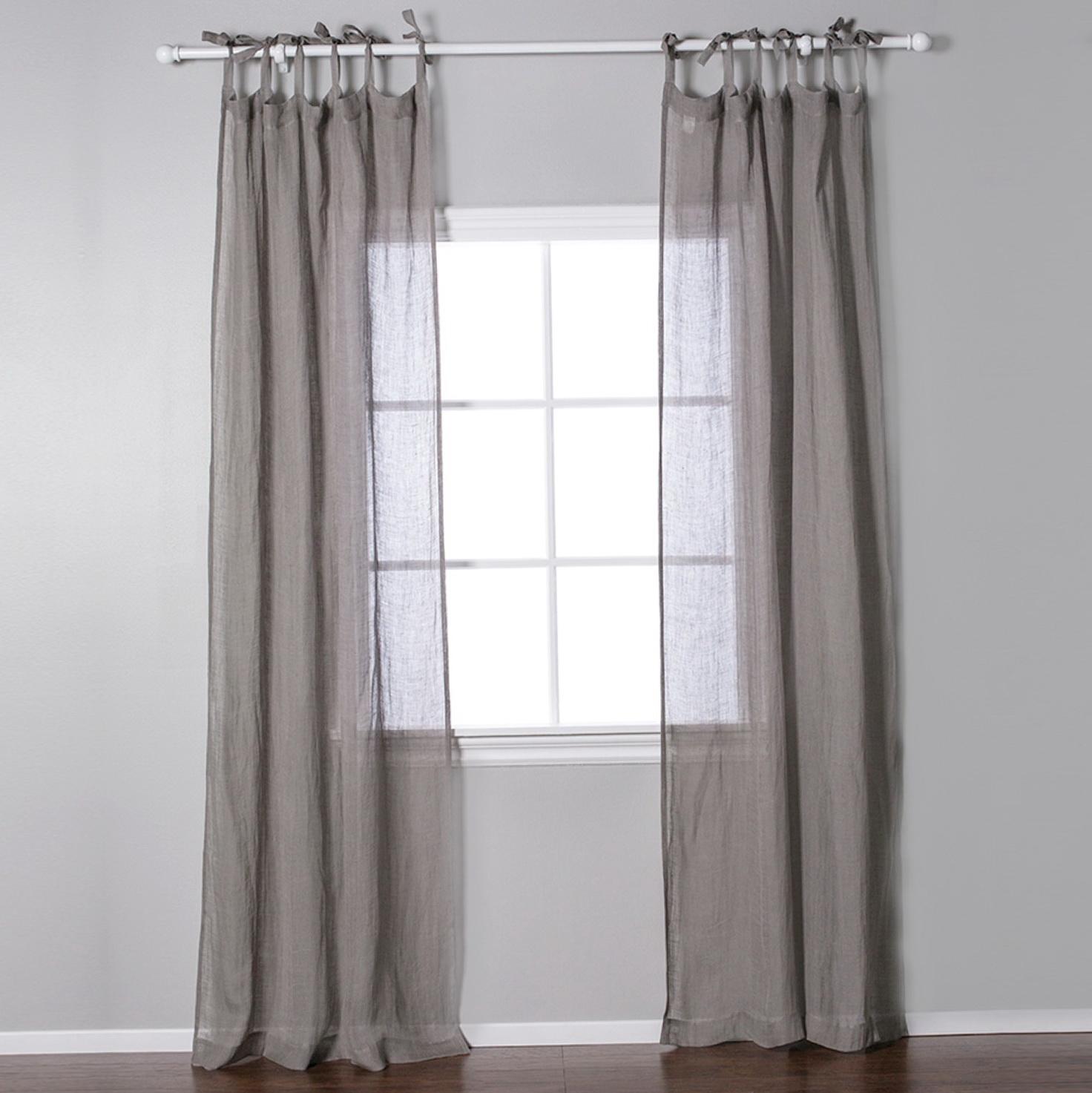 Linen Tie Top Curtain Panels