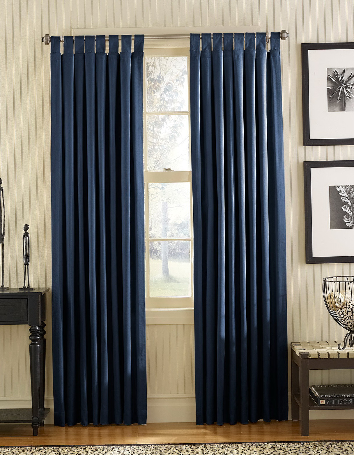 navy blue curtains living room home design ideas. Black Bedroom Furniture Sets. Home Design Ideas