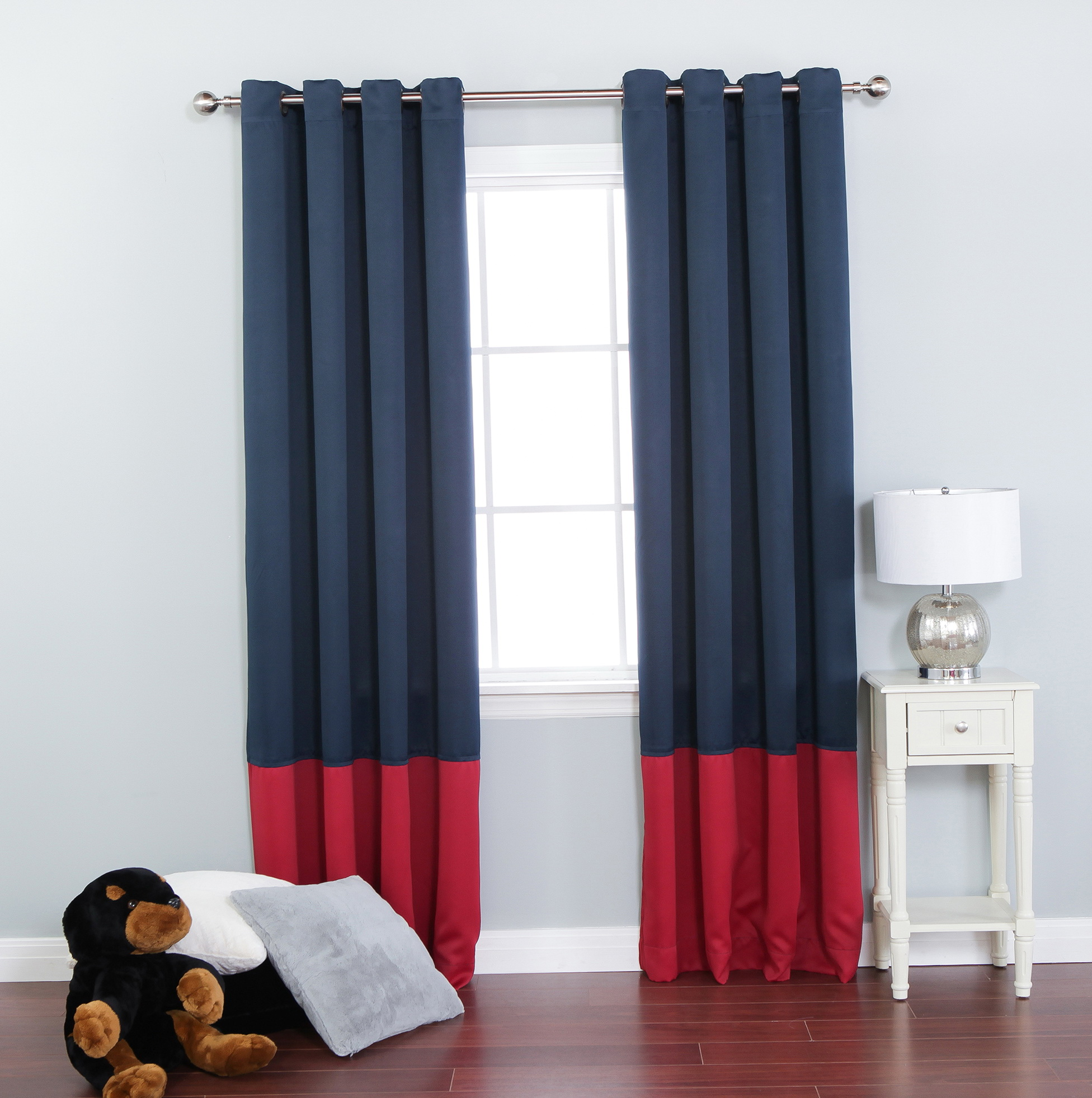 Navy blue grommet curtains