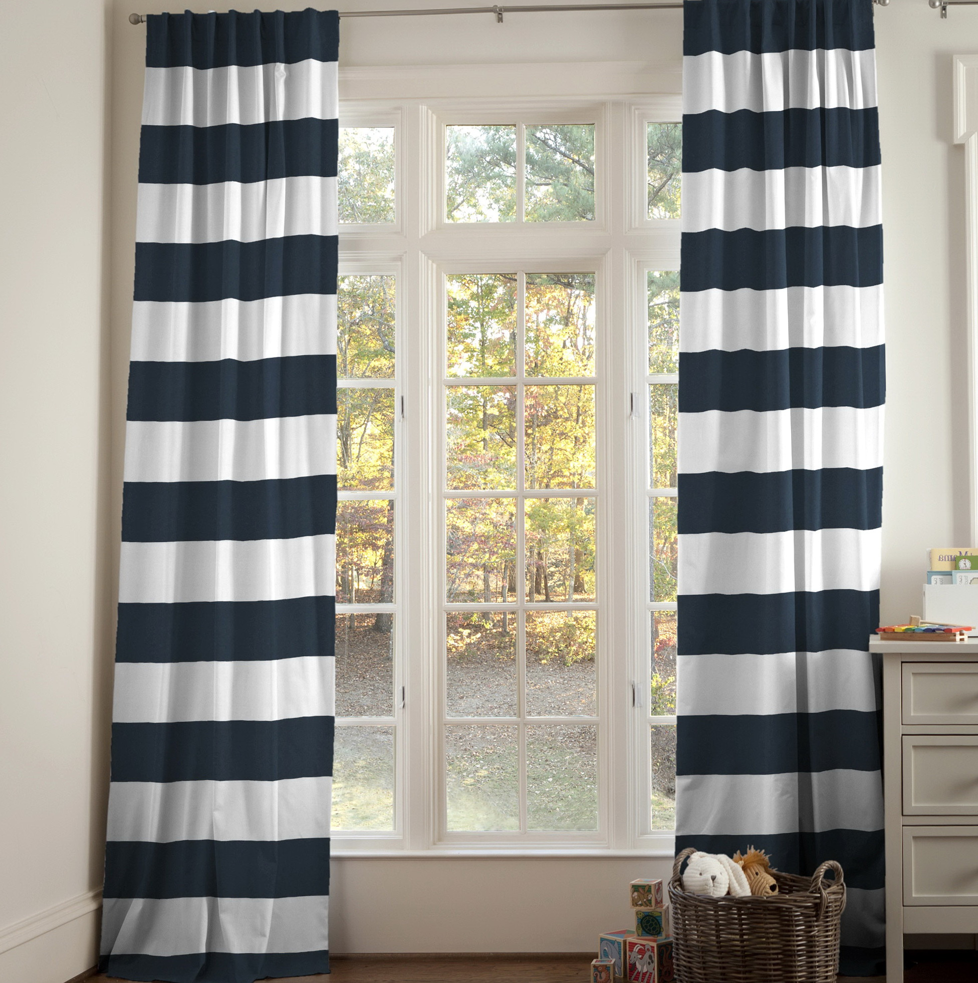 Navy Horizontal Striped Curtains Home Design Ideas