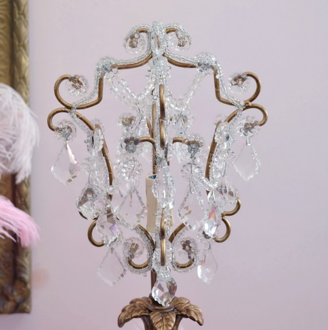 Pink Crystal Chandelier Table Lamp