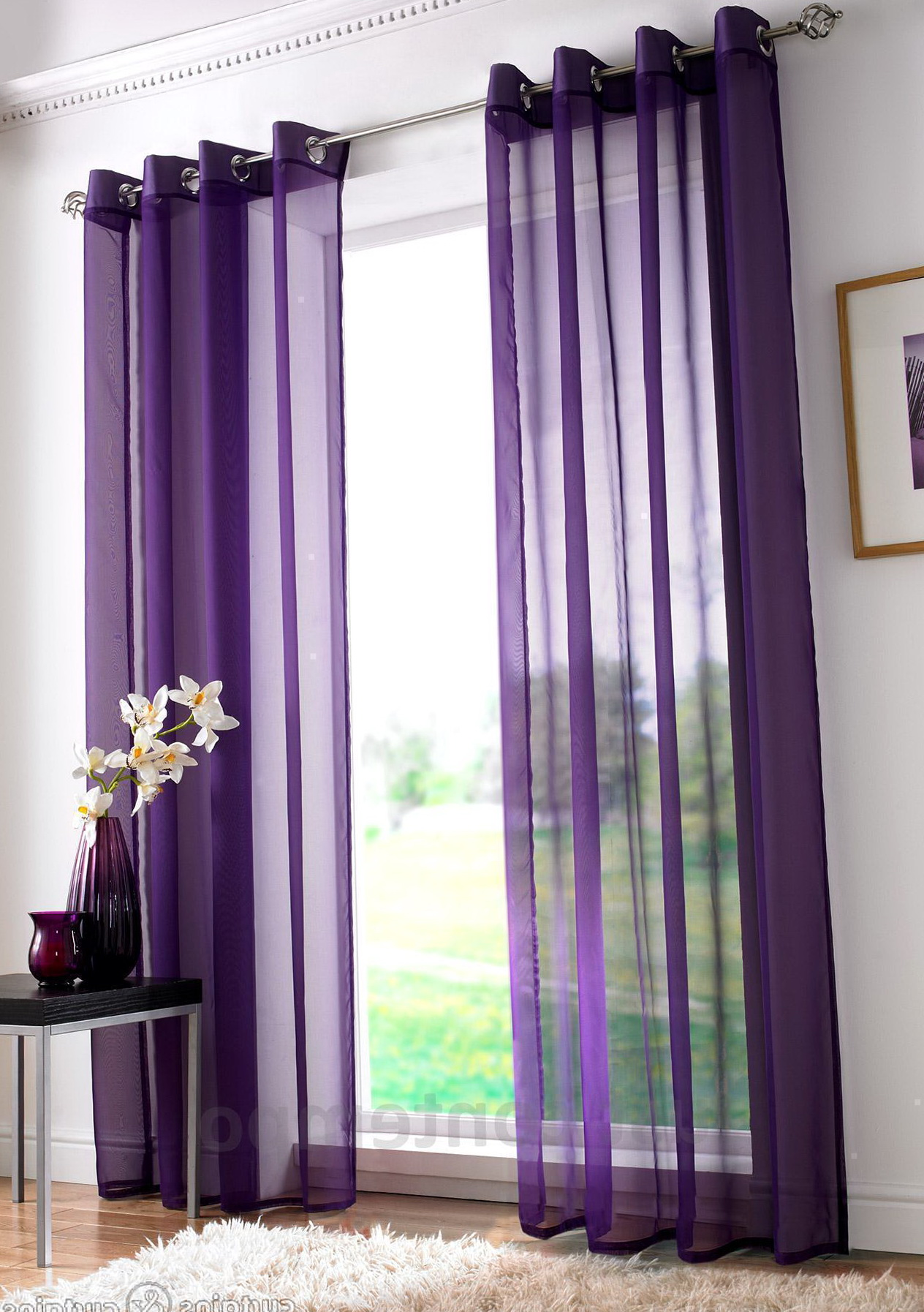 New Purple Sheer Curtain Panels - Curtain Designs YN54