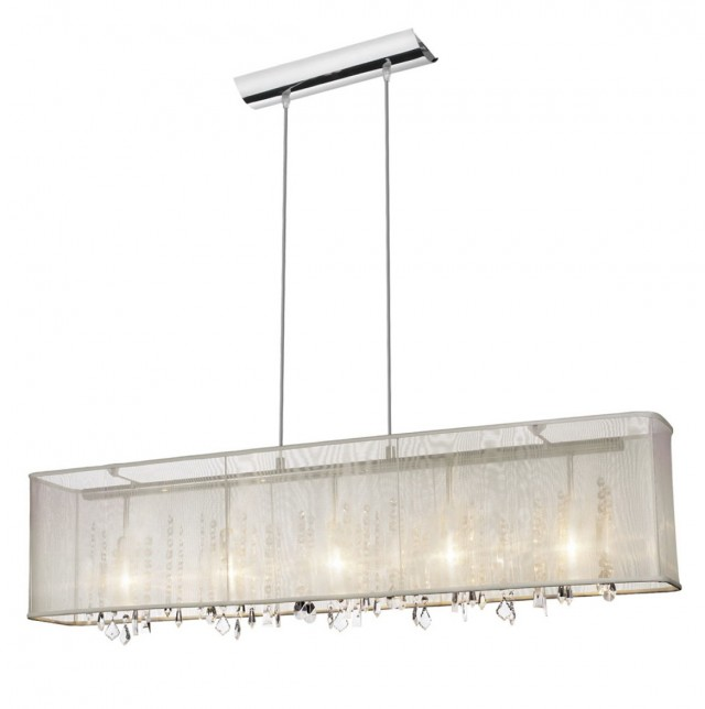 Rectangular Crystal Chandelier With Shade