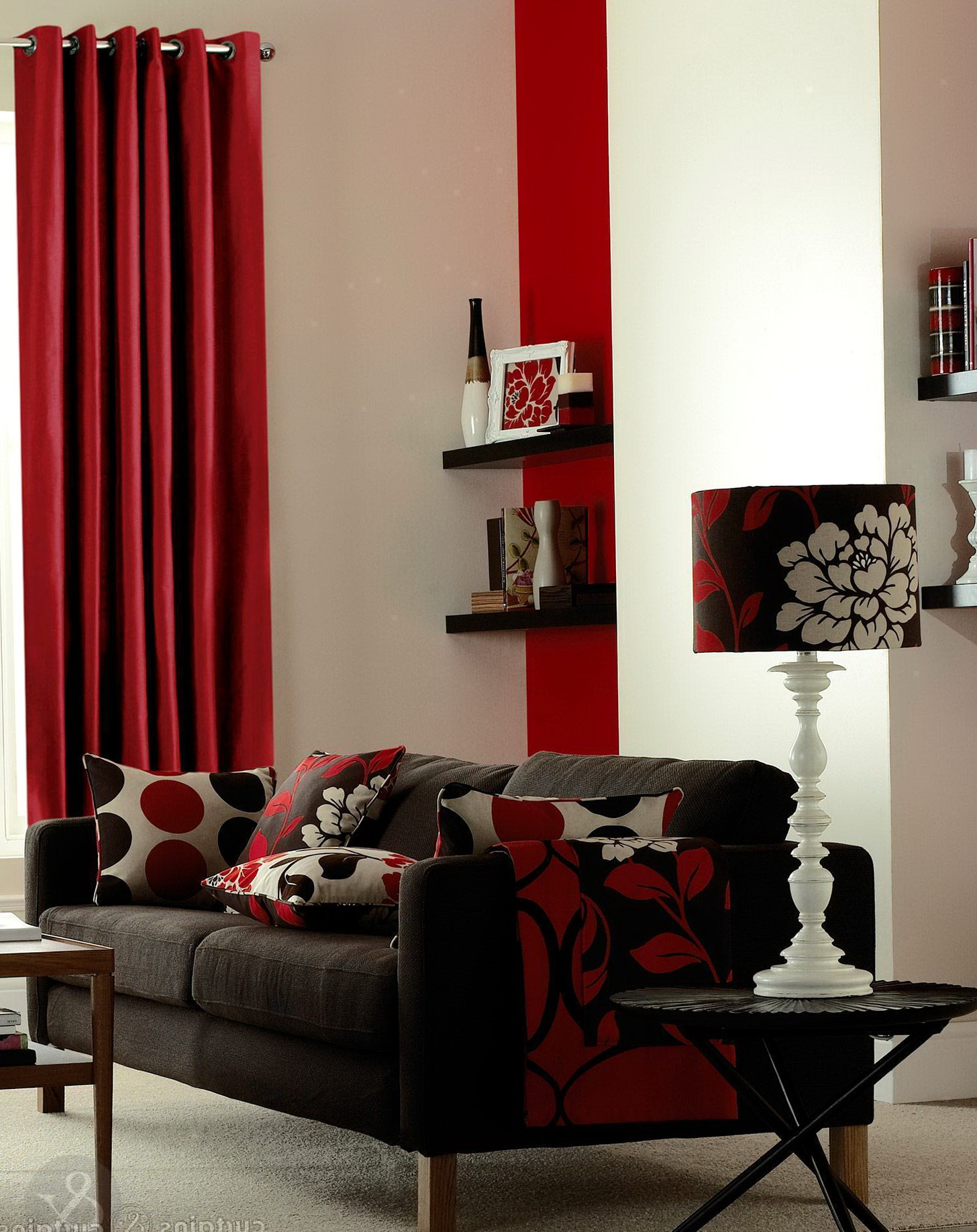 Red Faux Silk Curtains