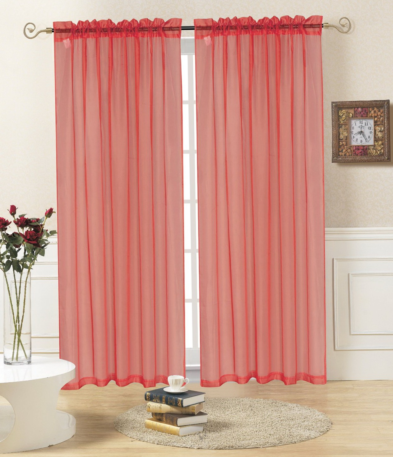 Red Sheer Curtain Panels