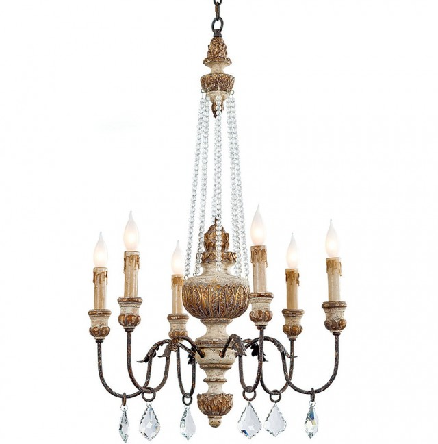 Regina Andrew Wood Bead Chandelier