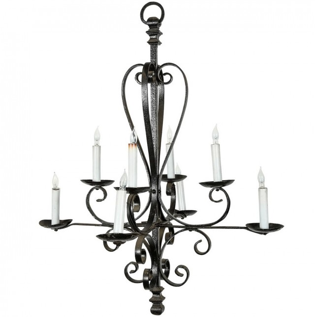 Rod Iron Candle Chandelier