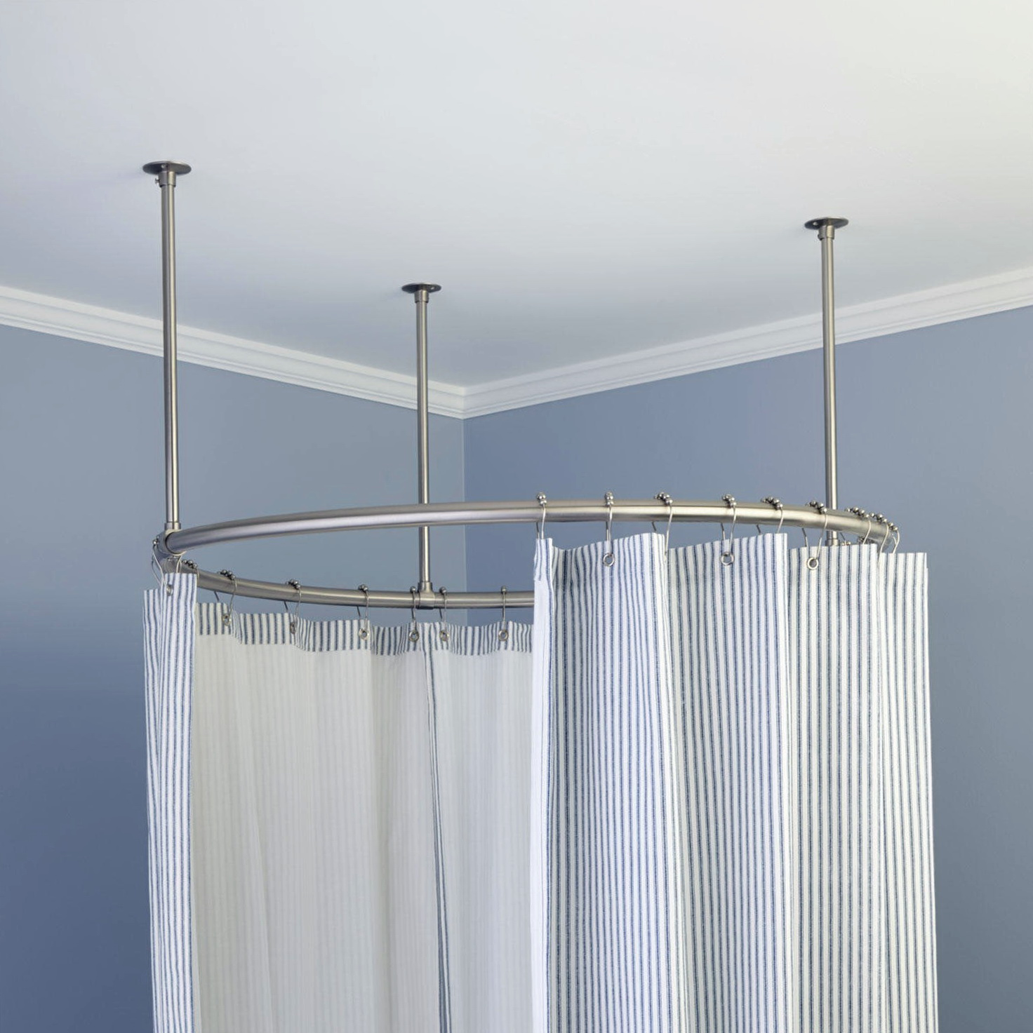 Round Shower Curtain Rod For Clawfoot Tub Home Design Ideas