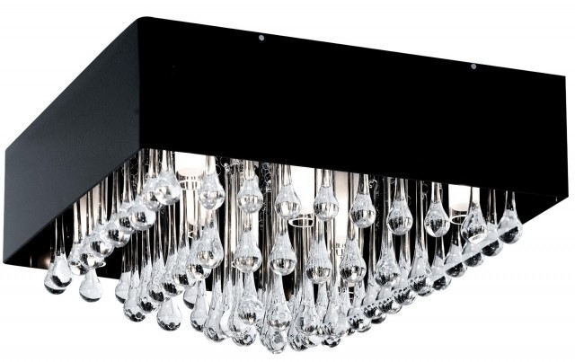 Semi Flush Black Chandelier