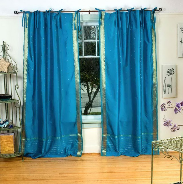 Teal Sheer Curtain Panels
