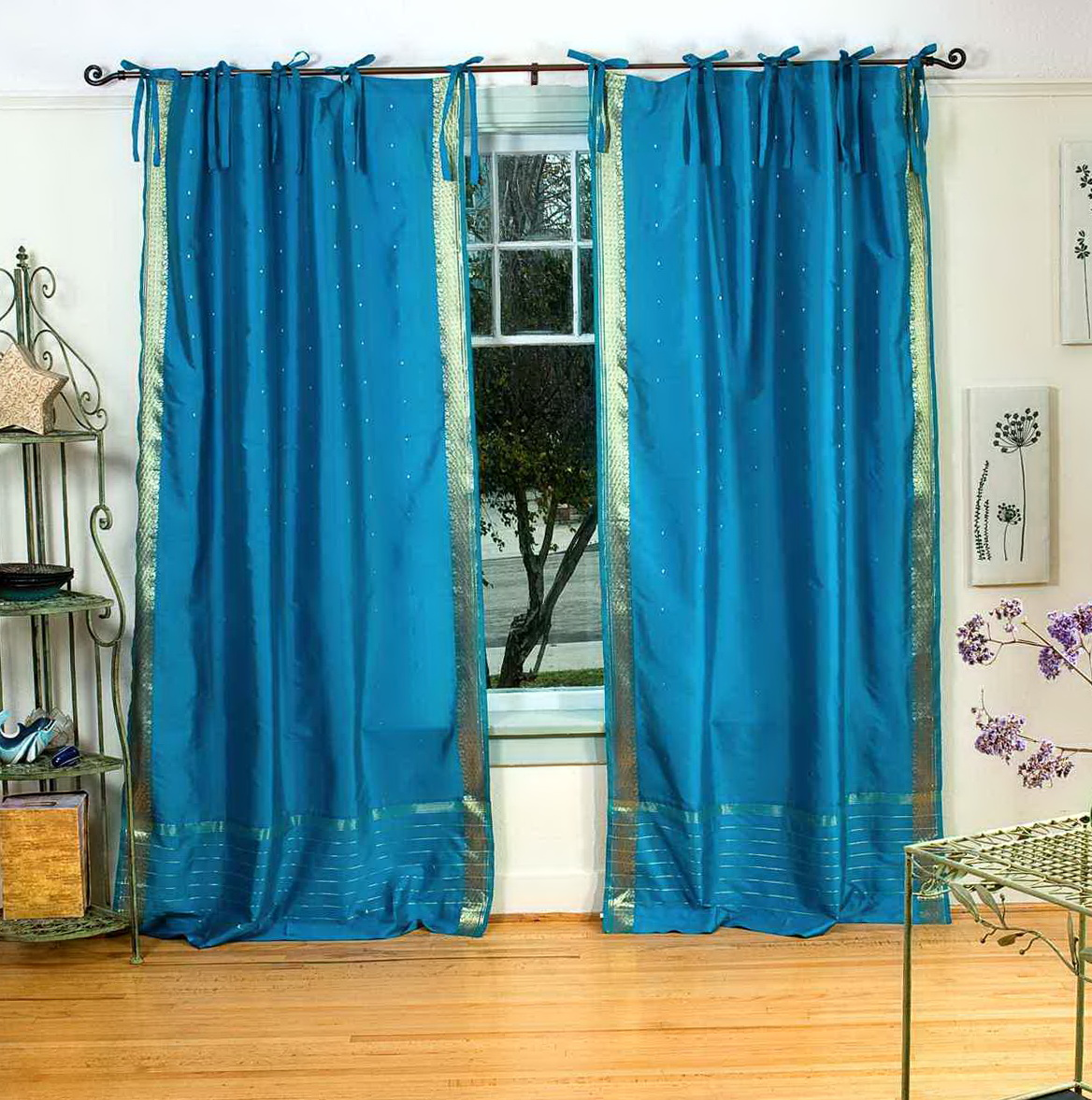 Teal sheer curtain panels home design ideas for Sheer panel curtain ideas