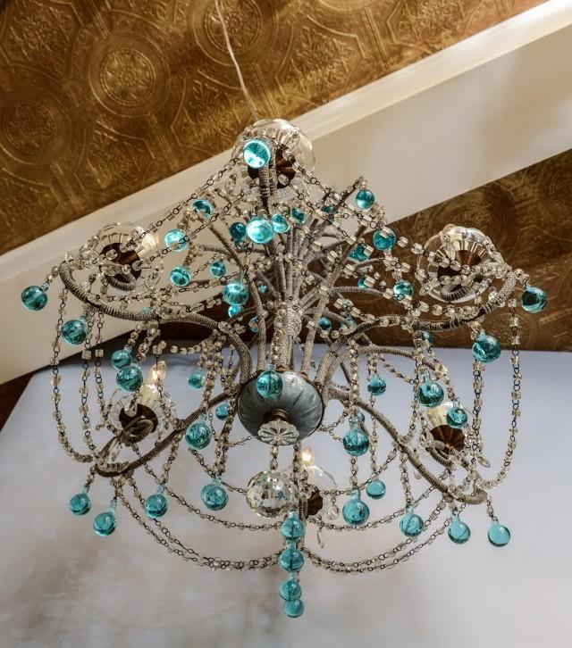 Turquoise Beaded Chandelier Light Fixture