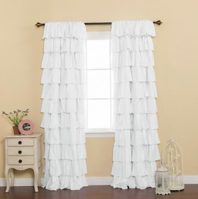 White Blackout Curtains Short