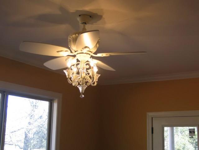 White Ceiling Fan With Chandelier Light Kit