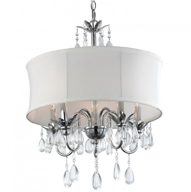 White Drum Chandelier With Crystals