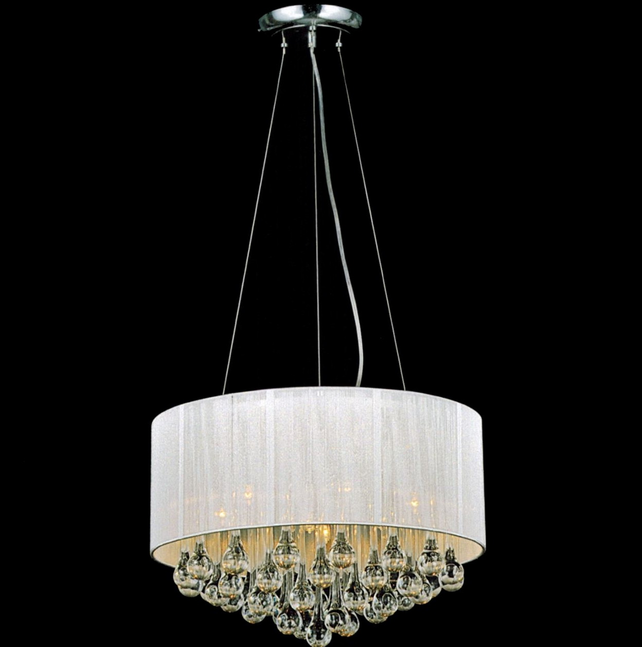 White Drum Shade Crystal Chandelier