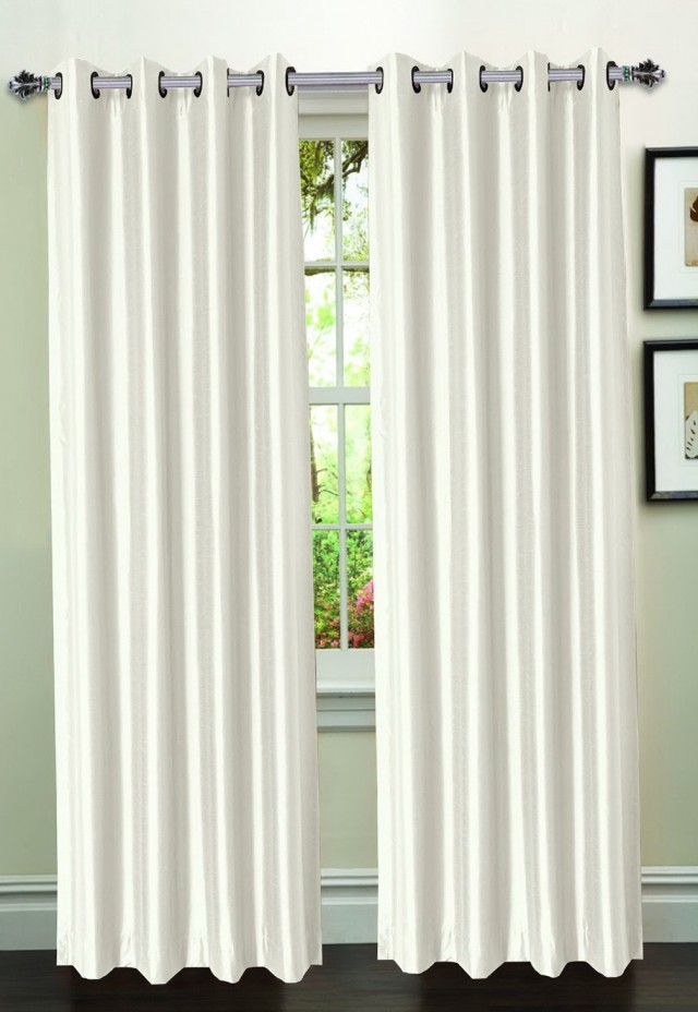 White Faux Silk Curtains
