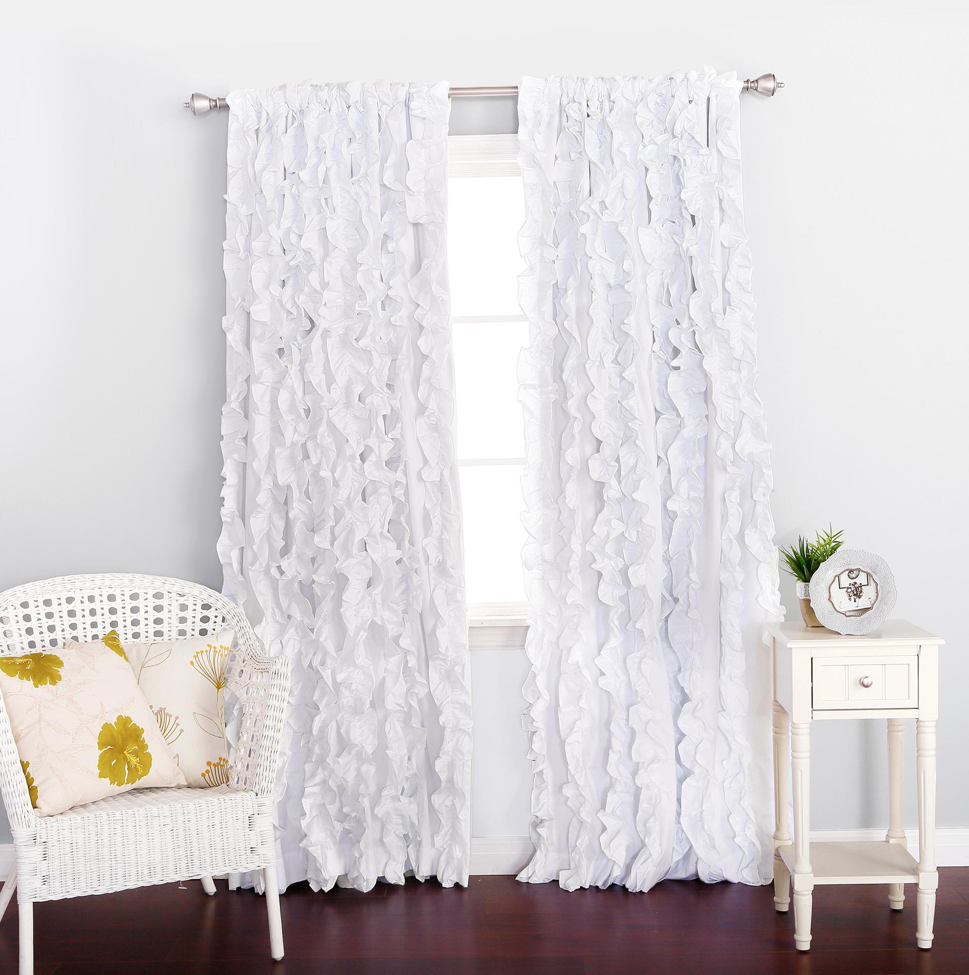 White Ruffle Blackout Curtains Home Design Ideas