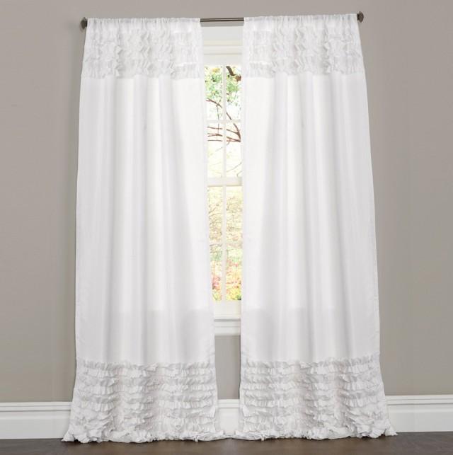 White Ruffle Curtains 96 Inch