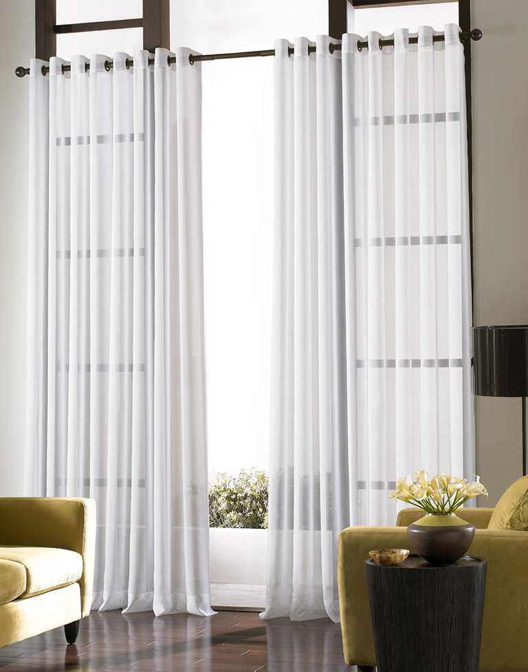 White sheer curtains with designs home design ideas for Sheer panel curtain ideas