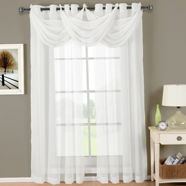 White Sheer Curtains With Valance