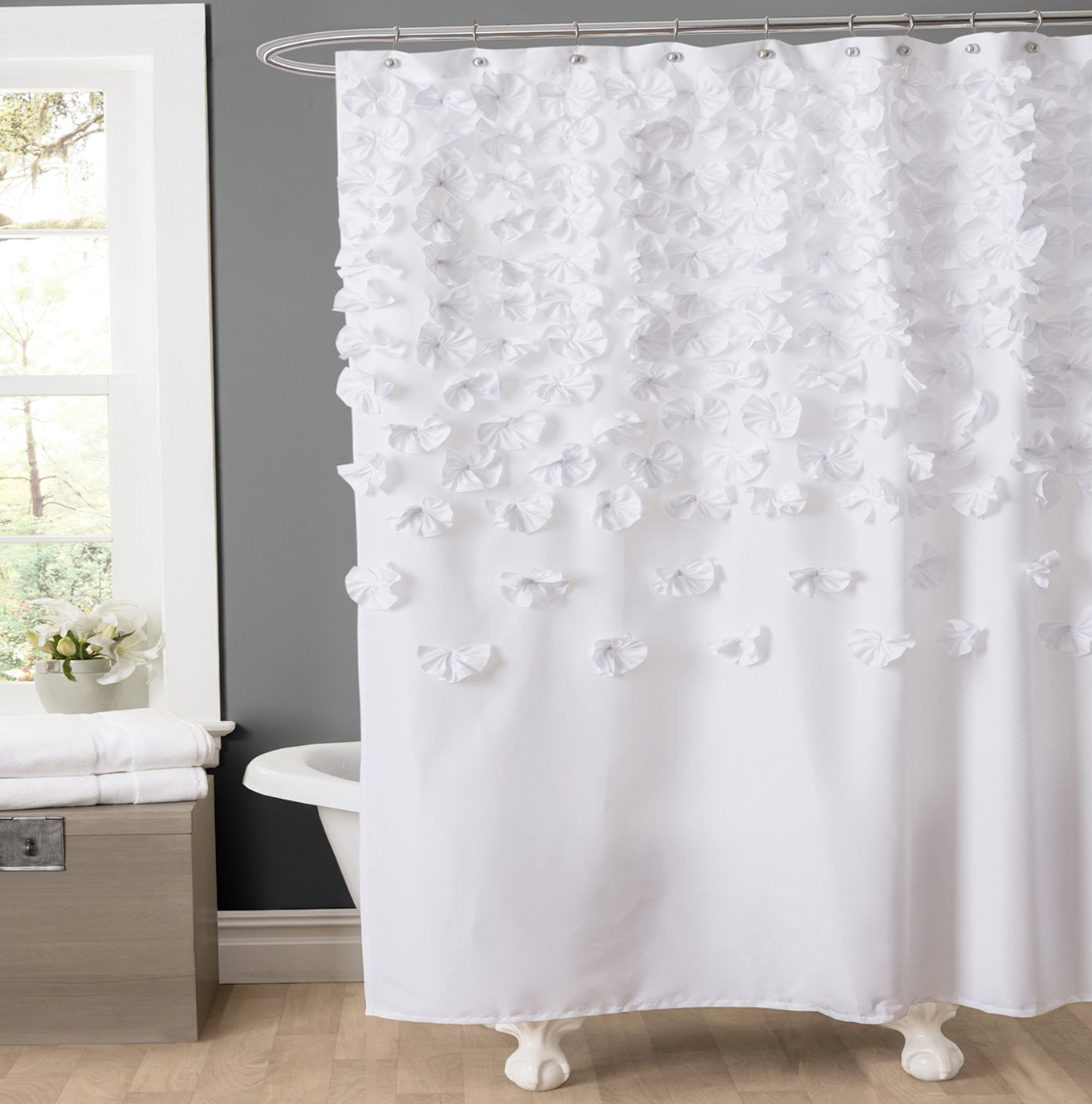 White Shower Curtain With Flowers Home Design Ideas