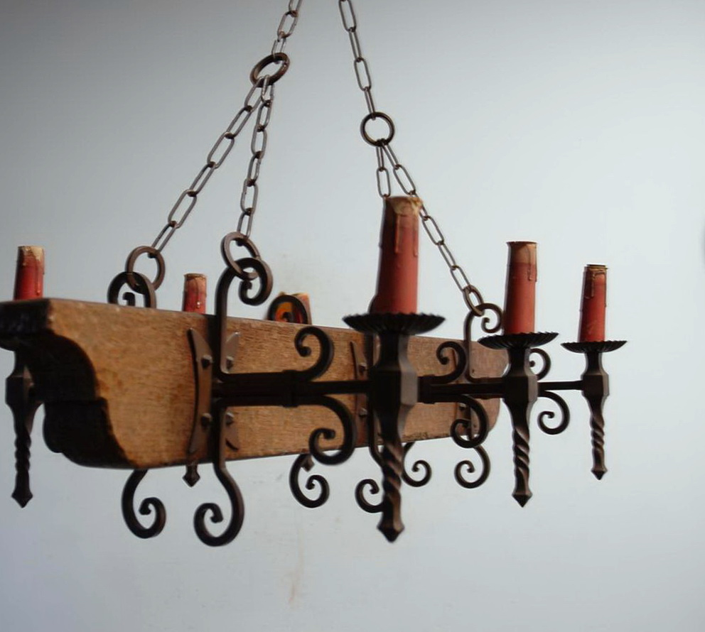 Wood And Wrought Iron Chandeliers