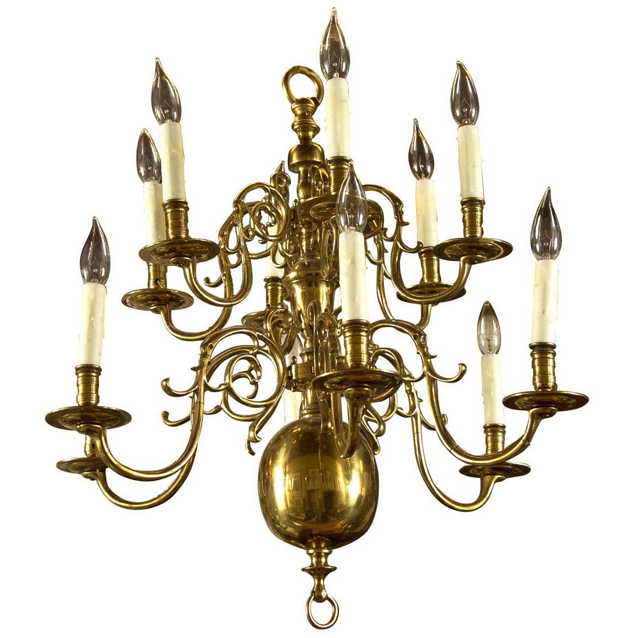 12 Light Brass Chandelier