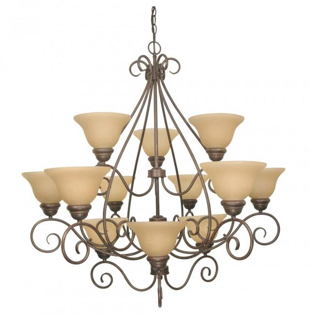 12 Light Chandelier Bronze