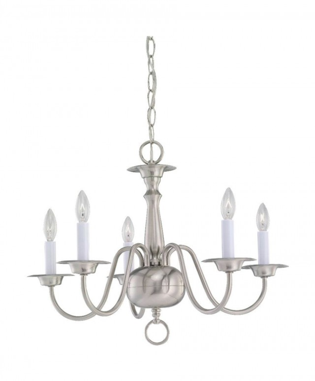 5 Light Brushed Nickel Chandelier