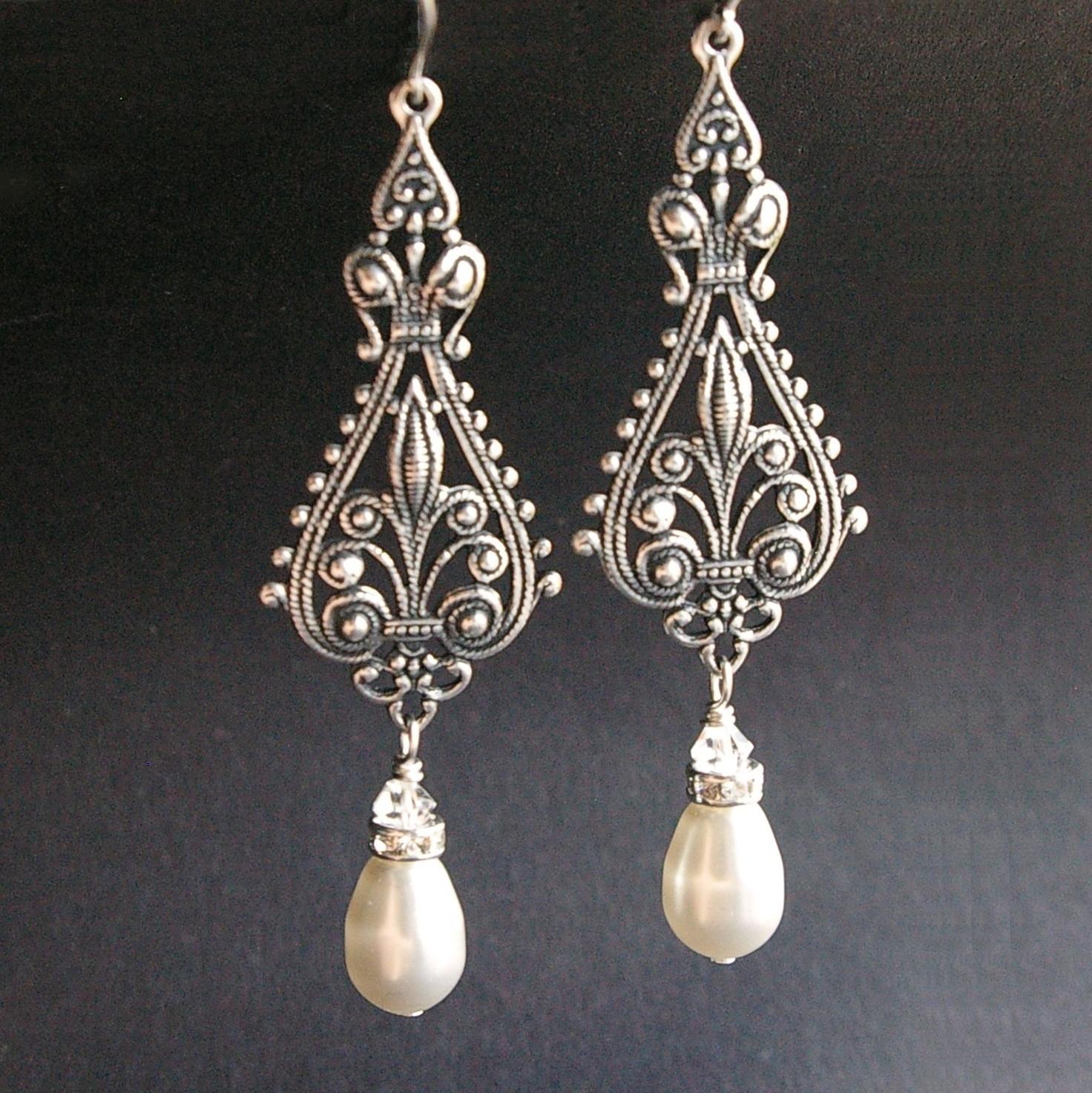 Antique Silver Chandelier Earrings