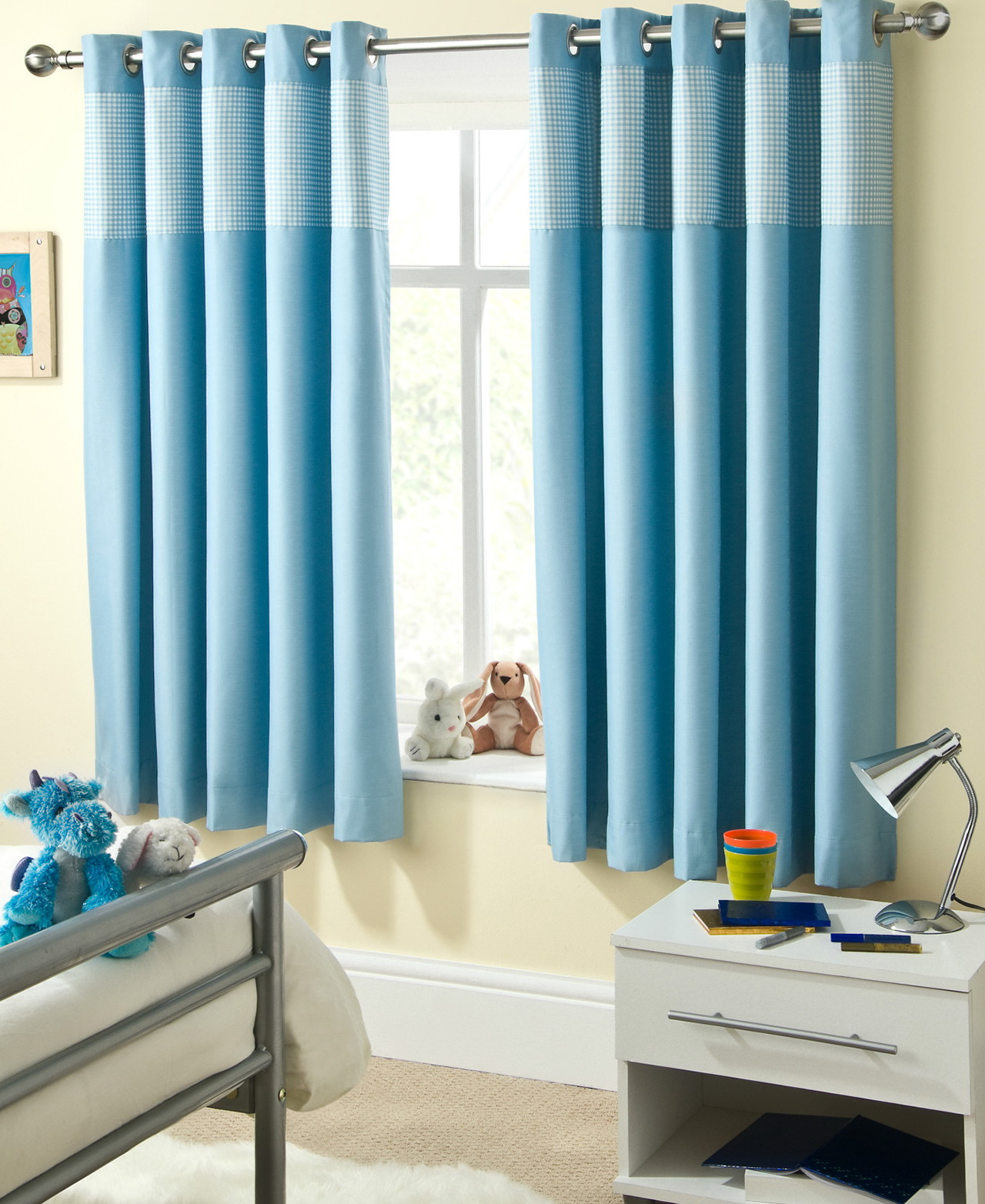 Baby blue eyelet curtains