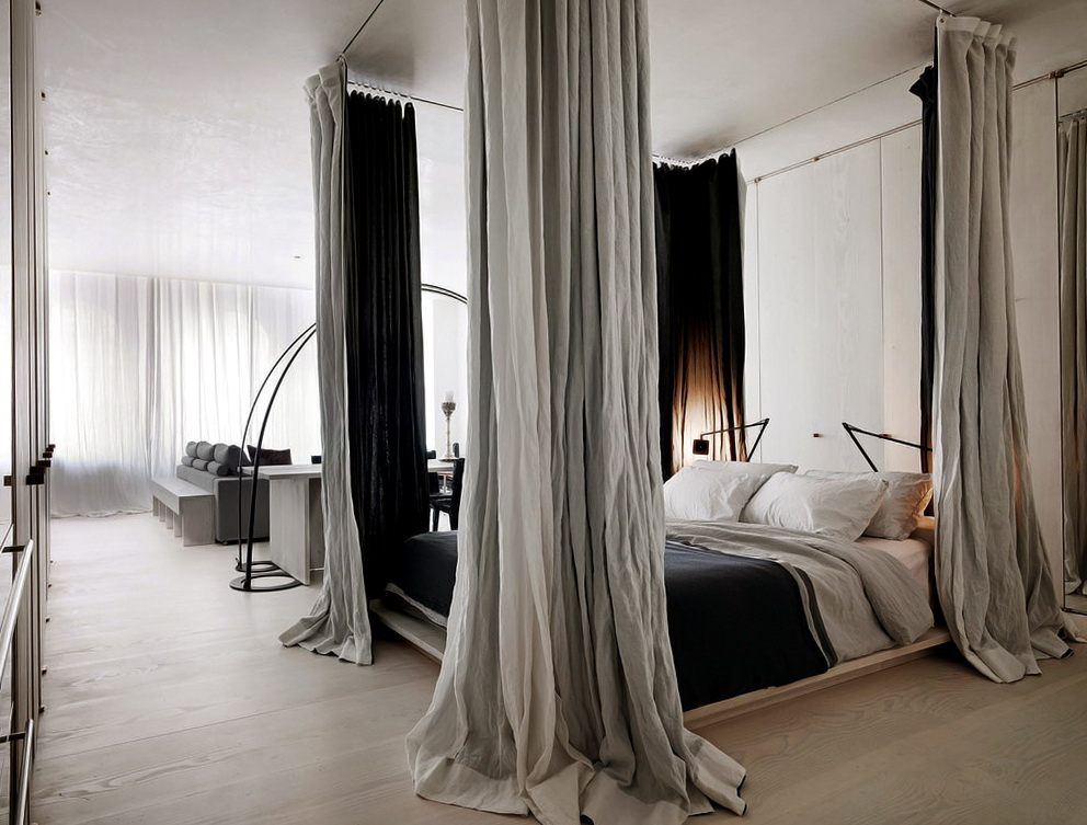 Bed With Curtains From Ceiling
