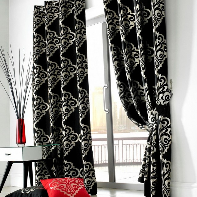 Black And White Velvet Curtains