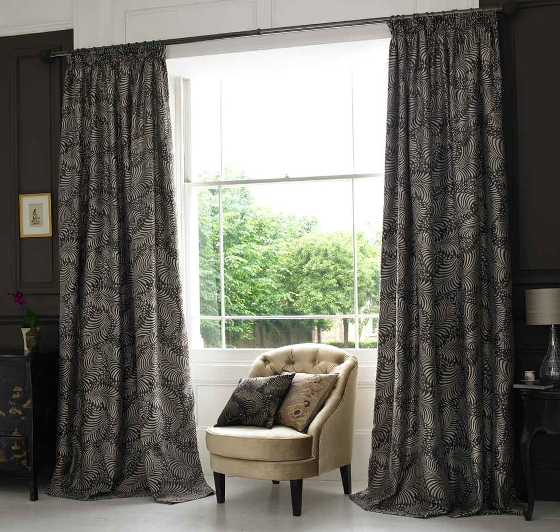 Black bedroom window curtains home design ideas for Curtains for bedroom windows with designs