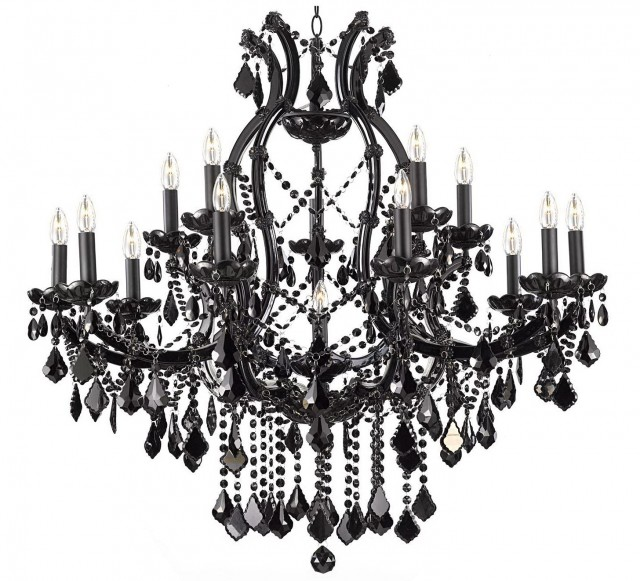 Black Crystal Chandelier Lighting