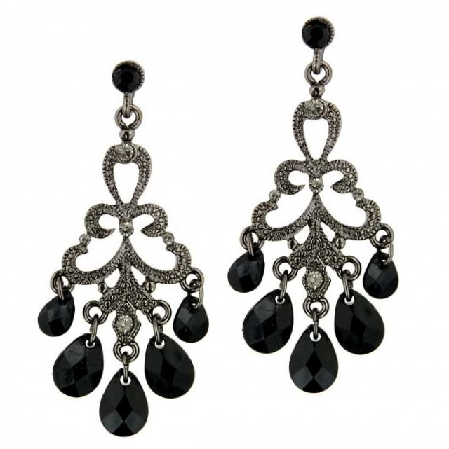 Black Diamond Chandelier Earrings
