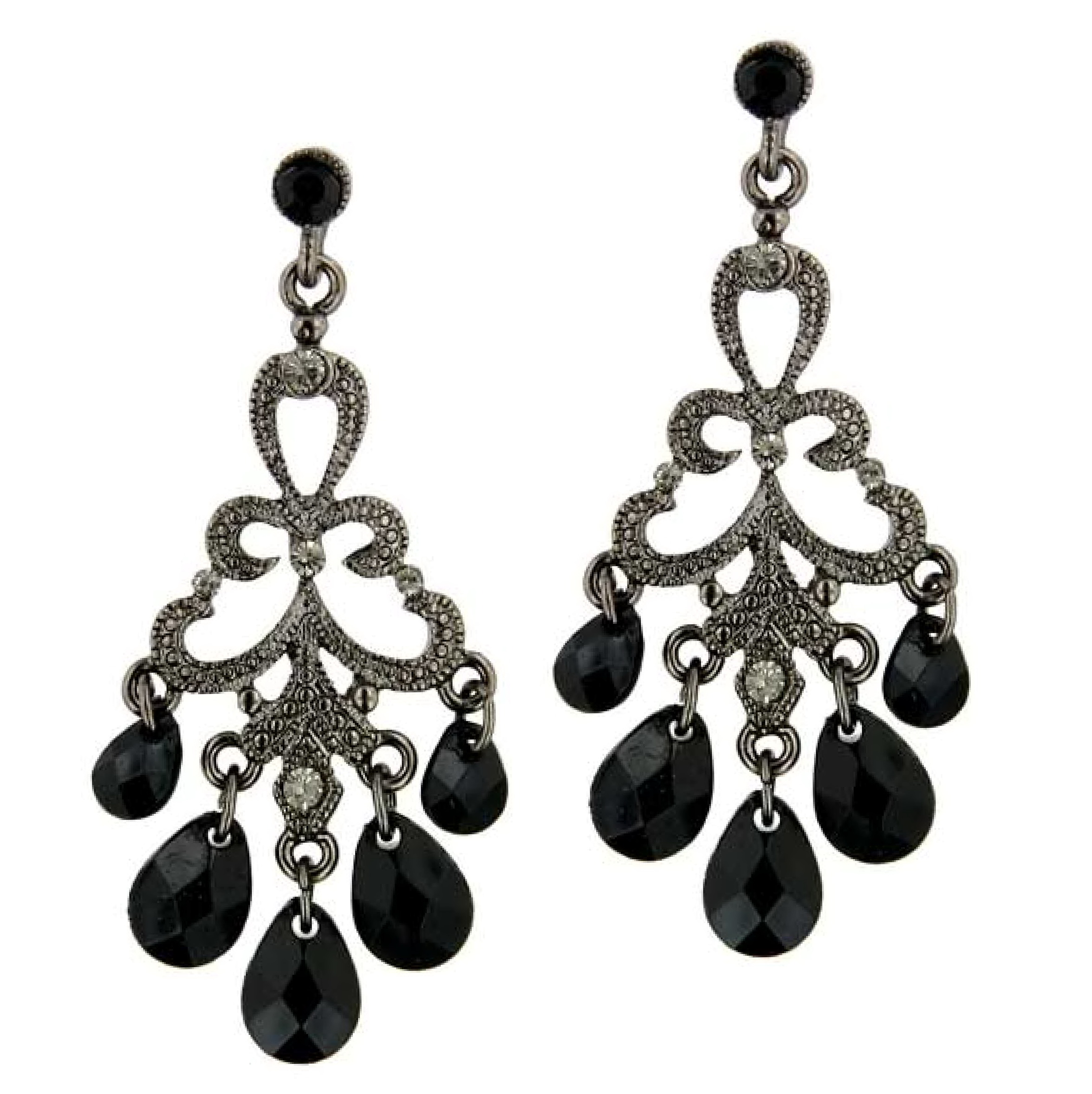 Black Diamond Chandelier Earrings