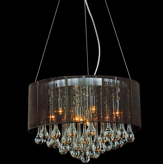 Black Shade With Crystals Chandelier