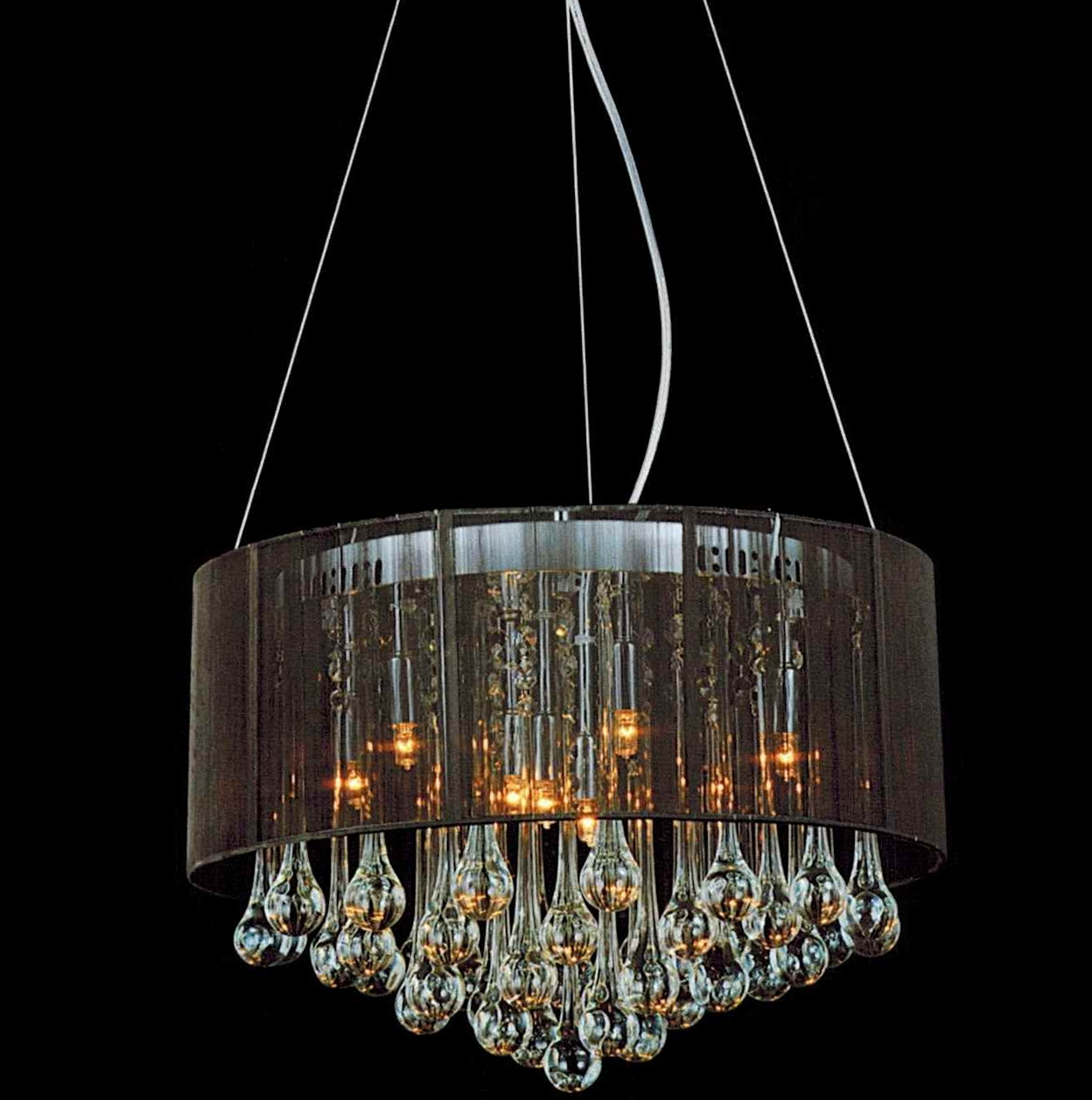 Black Shade With Crystals Chandelier Home Design Ideas