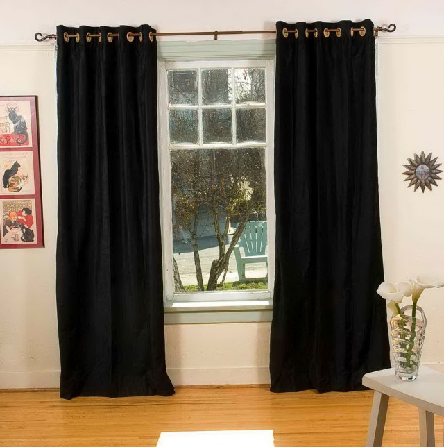 Black Velvet Curtains Ebay