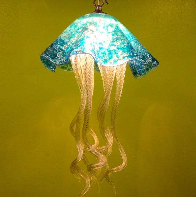 Blown Glass Jellyfish Chandelier